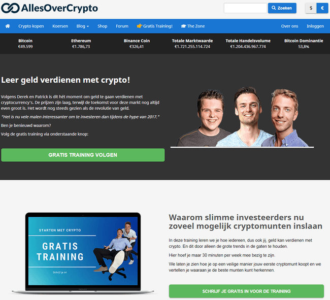 Allesovercrypto.nl review: Allesovercrypto.nl homepage